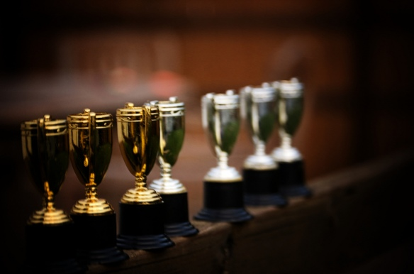 Award trophies on a shelf